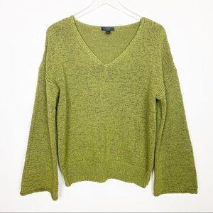 Madewell green bell sleeve sweater